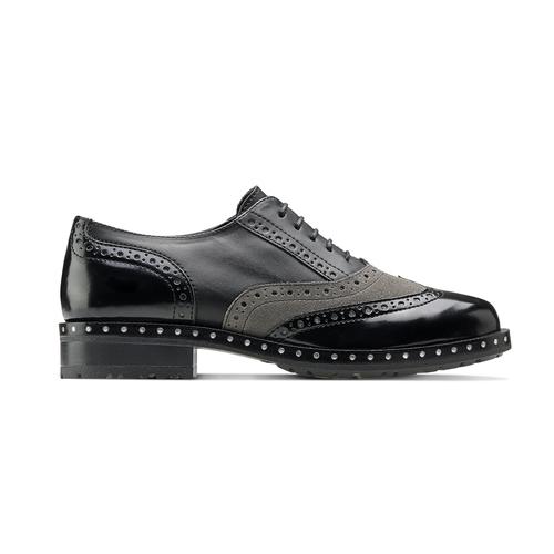 Scarpe stringate bicolore bata, nero, 521-6673 - 26