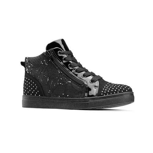 Sneakers alte con strass mini-b, nero, 329-6302 - 13