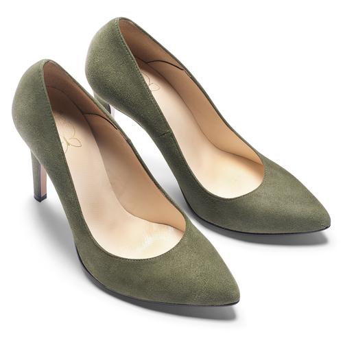 Décolleté in suede con tacco stiletto insolia, verde, 723-7111 - 19