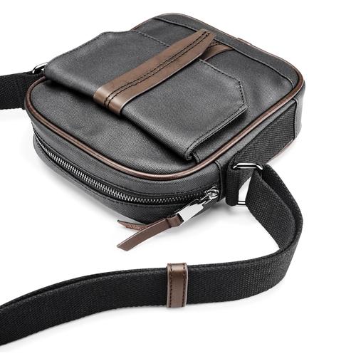 Tracolla da uomo con tasca esterna bata, nero, 969-6126 - 17