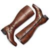 Stivali alti in pelle con borchie bata, marrone, 594-3427 - 19