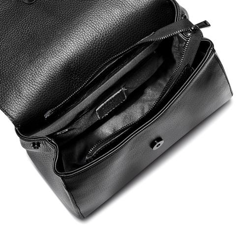 Borsa a mano con patta a contrasto bata, nero, 964-6248 - 16