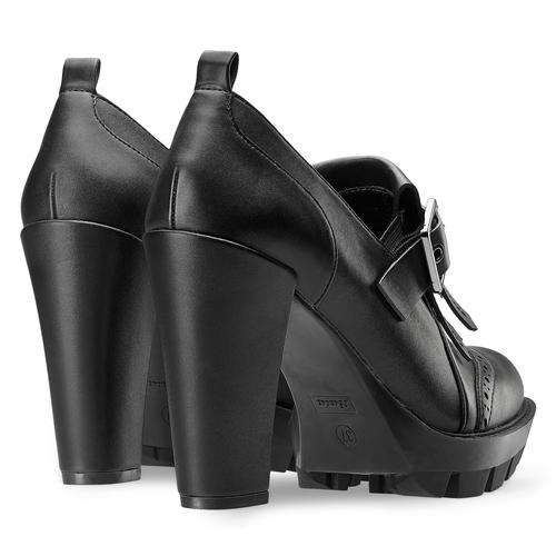 Mocassini da donna con tacco bata, nero, 721-6220 - 19