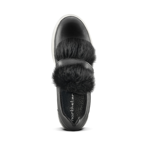 Sneakers in pelle e pelliccia north-star, nero, 544-6114 - 15
