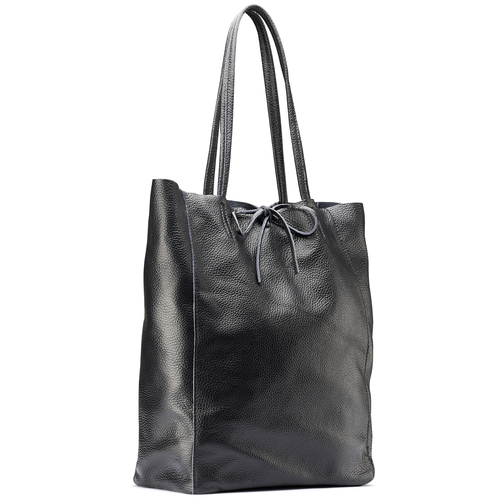 Shopper in Vera Pelle bata, nero, 964-6122 - 13