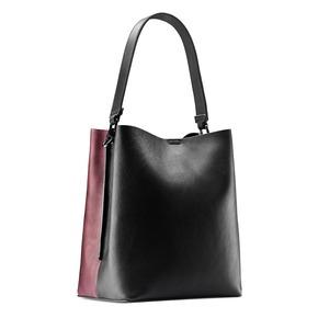 Shopper con tracolla double color bata, nero, 961-6173 - 13