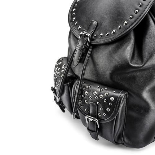Zaino nero con borchie bata, nero, 961-6150 - 15