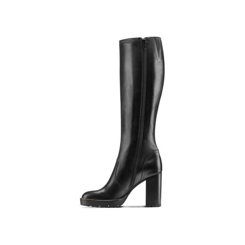 Stivali alti con tacco bata, nero, 794-6159 - 16