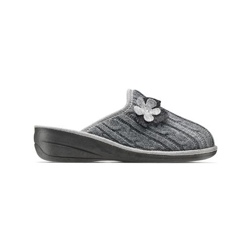 Pantofole donna in lana bata, grigio, 579-2421 - 26