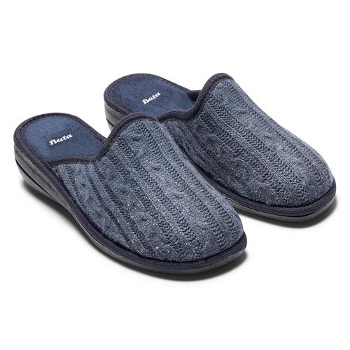 Pantofole da donna in lana bata, blu, 579-9370 - 19