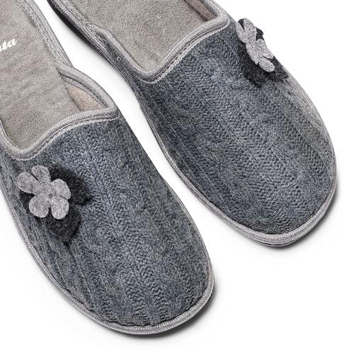 Pantofole donna in lana bata, grigio, 579-2421 - 19