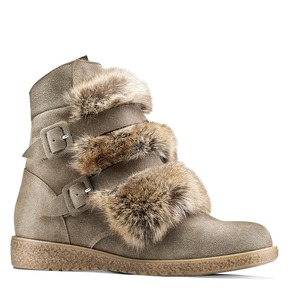 Ankle boots Michelle con dettagli in pelliccia bata, beige, 593-2442 - 13