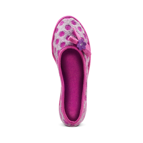 Pantofole in lana cotta a pois bata, rosso, 579-5422 - 15