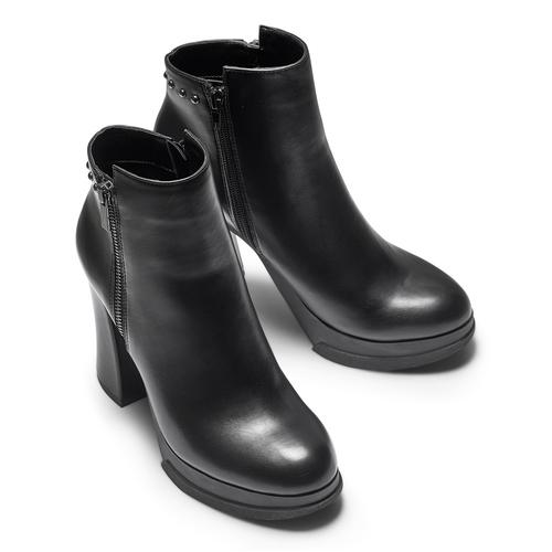 Ankle boots con tacco quadrato bata, nero, 791-6290 - 15
