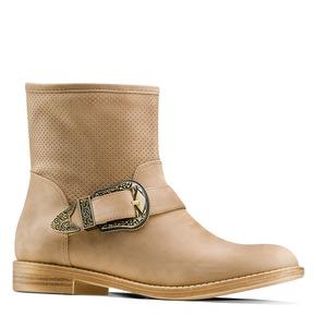 Ankle boots con fibbia bata, neutro, beige, 599-8691 - 13