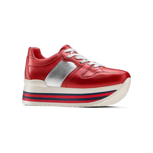 Sneakers con lacci Platform bata, rosso, 644-5198 - 13