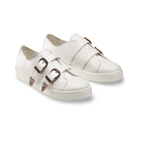 Sneakers con fibbie bata, bianco, 541-1196 - 16