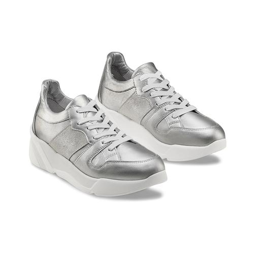 Sneakers silver Platform bata, 624-1158 - 16
