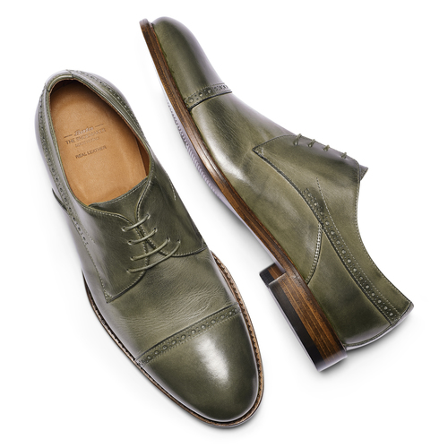 Stringate verdi in pelle bata-the-shoemaker, 824-2348 - 19