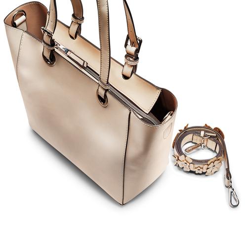 Shopper da donna con applicazioni floreali bata, beige, 961-8232 - 17