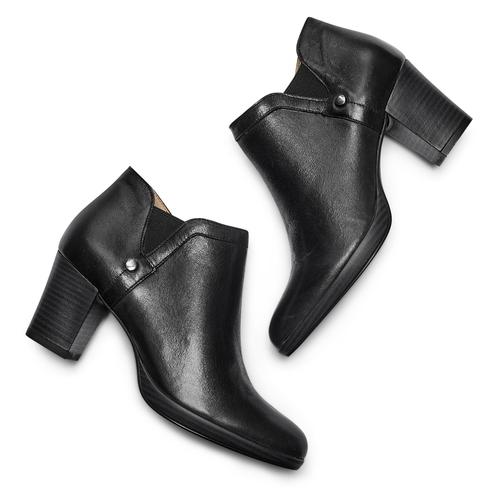 Ankle boots in vera pelle bata, nero, 724-6186 - 26