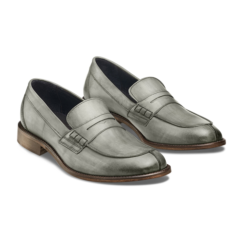 Mocassini in vera pelle bata-the-shoemaker, grigio, 814-2129 - 16