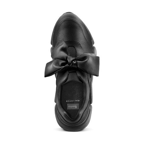 Sneakers nere con lacci in satin bata, nero, 549-6202 - 17