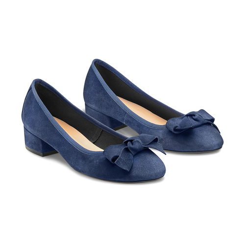 Ballerine con tacco bata, blu, 523-9420 - 16