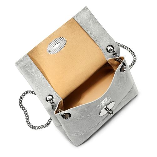 Minibag in vera pelle bata, argento, 964-2239 - 16