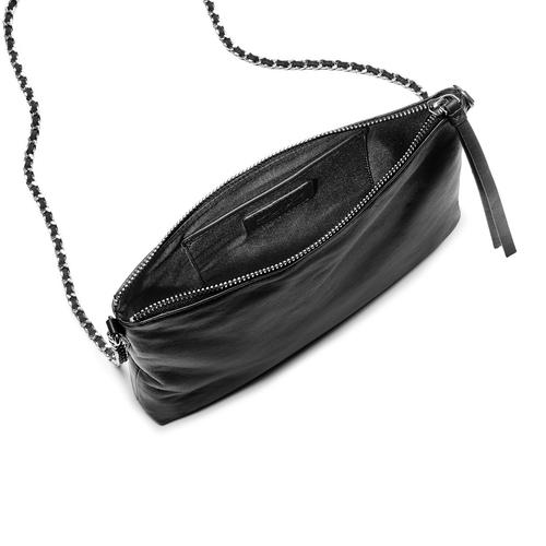 Tracolla in vera pelle bata, nero, 964-6252 - 16