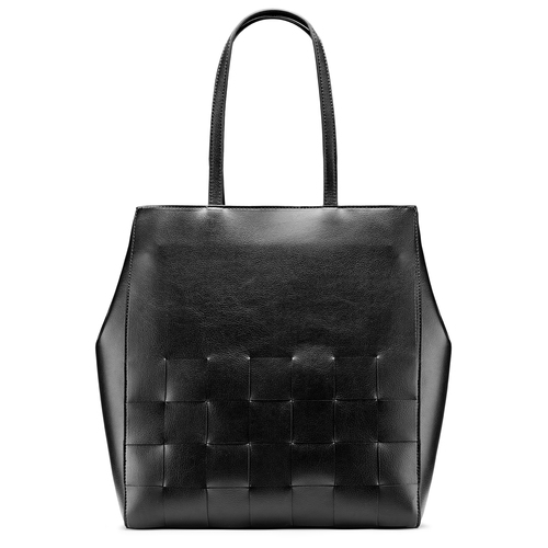 Shopper con intreccio bata, nero, 961-6236 - 26
