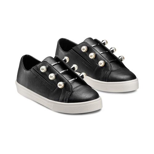 Sneakers con maxi perle bata, nero, 541-6375 - 16