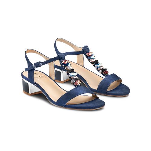 Sandali con tacco basso insolia, blu, 669-9131 - 16