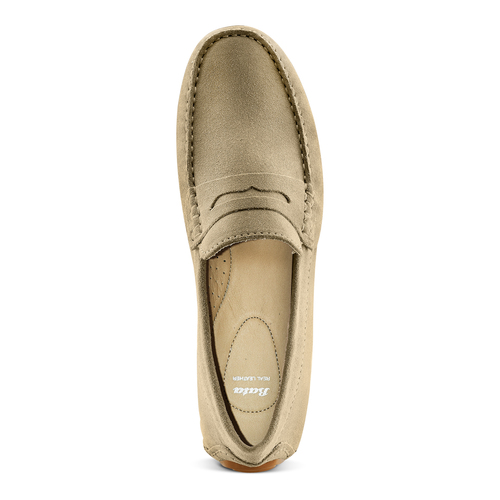 Mocassini in suede bata, beige, 853-8171 - 17