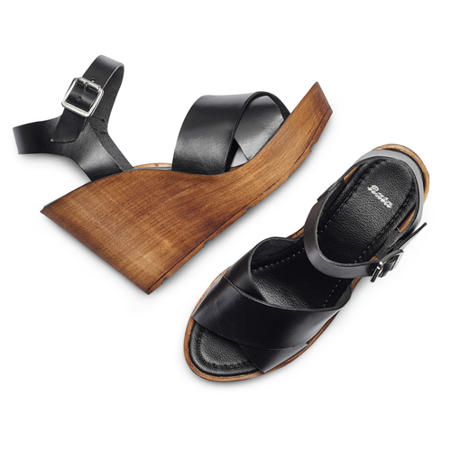 Sandali con zeppa bata, nero, 764-6226 - 26