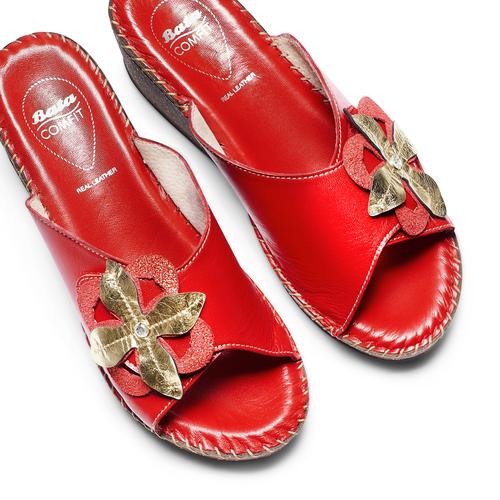 Ciabatte in vera pelle bata-comfit, rosso, 774-5107 - 26
