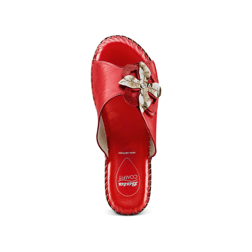 Ciabatte in vera pelle bata-comfit, rosso, 774-5107 - 17