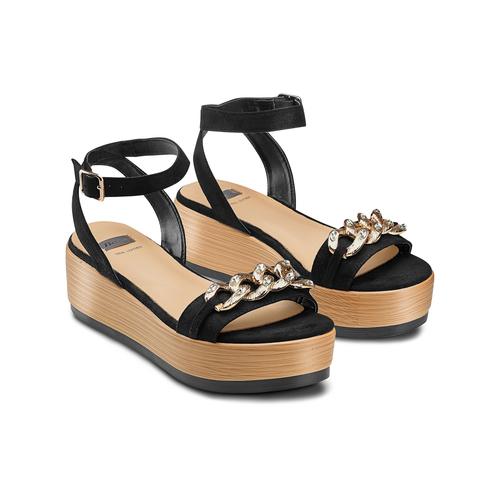 Sandali con zeppa bata, nero, 669-6353 - 16