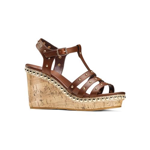Sandali con borchie bata, marrone, 761-4235 - 13