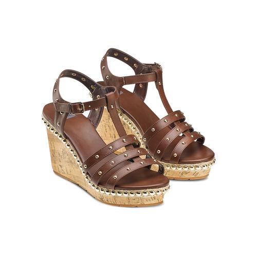 Sandali con borchie bata, marrone, 761-4235 - 16
