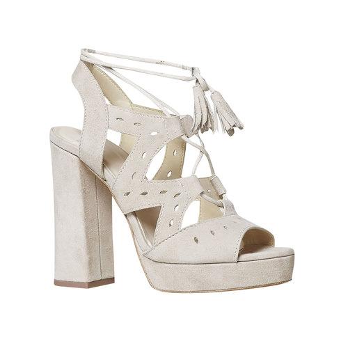 Sandali da donna in pelle con lacci bata, beige, 763-8580 - 13