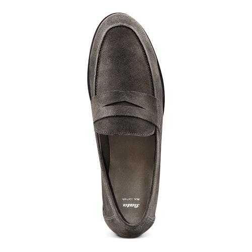 Mocassini in suede bata, grigio, 853-2129 - 17