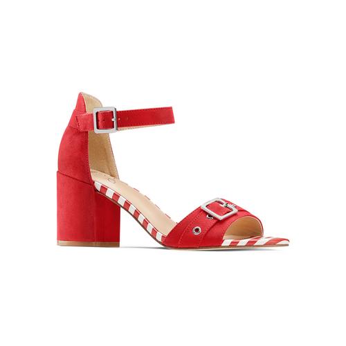 Sandali con tacco largo insolia, rosso, 769-5245 - 13