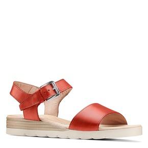 Sandali in pelle bata-touch-me, rosso, 664-5298 - 13