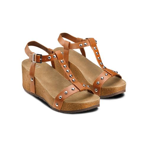 Sandali con zeppa bata, marrone, 661-3360 - 16