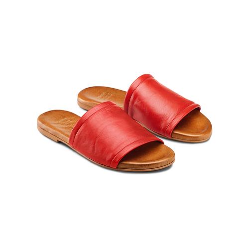 Ciabatte Flat in pelle bata, rosso, 564-5146 - 16