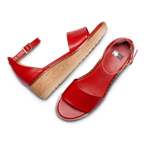 Sandali con zeppa bata, rosso, 661-5354 - 26