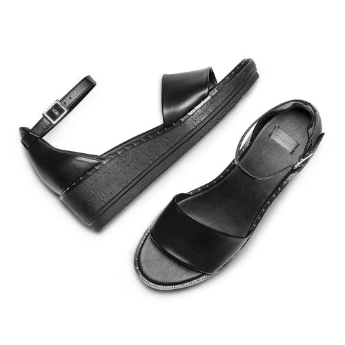 Sandali con zeppa bata, nero, 661-6354 - 26