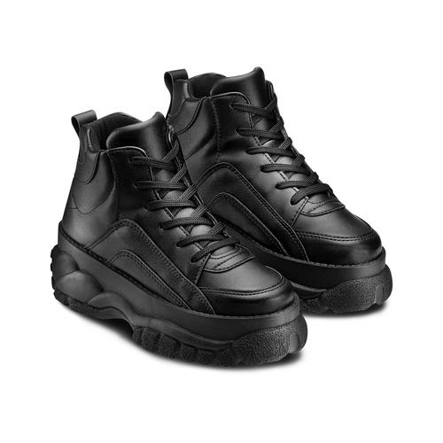 Sneakers alte con platform bata, nero, 541-6231 - 16